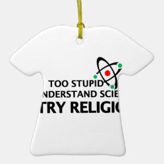 Funny Science VS Religion Ceramic T-Shirt Ornament