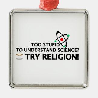 Funny Science VS Religion Silver-Colored Square Ornament