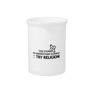 Funny Science VS Religion Beverage Pitcher