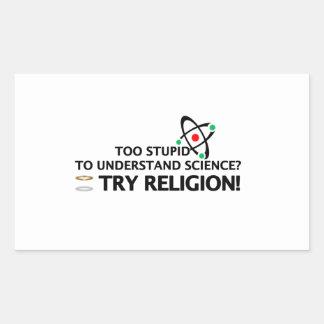 Funny Science VS Religion Rectangular Sticker
