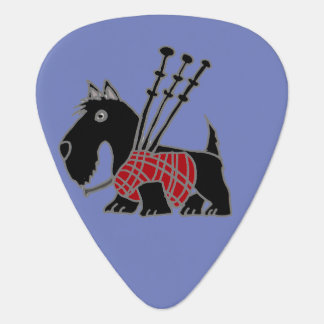 Funny Scotty Dog Playing Bagpipes Guitar Pick