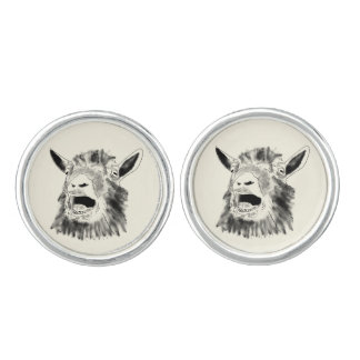 Funny Screaming Goat Drawing Animal Art Design Cufflinks