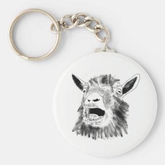 Funny Screaming Goat Drawing Animal Art Design Keychain