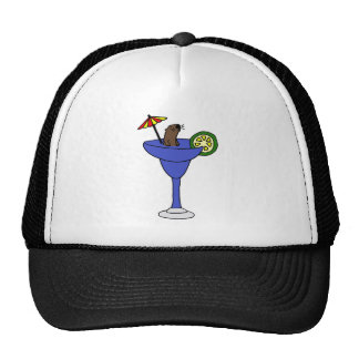 Funny Sea Otter in Blue Margarita Drink Mesh Hats