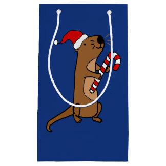 Funny Sea Otter in Santa Hat Christmas Gift Bag