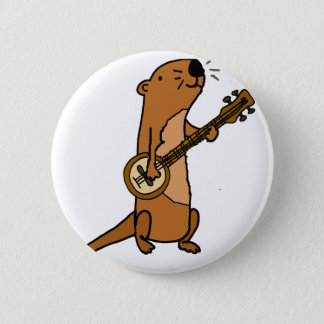 Funny Sea Otter Playing Banjo 2 Inch Round Button