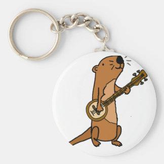 Funny Sea Otter Playing Banjo Basic Round Button Keychain
