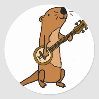 Funny Sea Otter Playing Banjo Classic Round Sticker