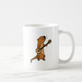 Funny Sea Otter Playing Banjo Coffee Mug