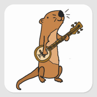 Funny Sea Otter Playing Banjo Square Sticker