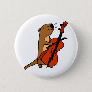 Funny Sea Otter Playing Cello Cartoon 2 Inch Round Button