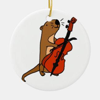 Funny Sea Otter Playing Cello Cartoon Ceramic Ornament