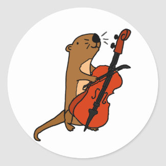Funny Sea Otter Playing Cello Cartoon Classic Round Sticker