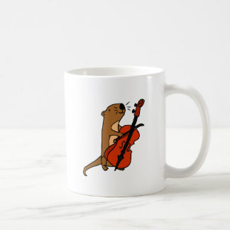 Funny Sea Otter Playing Cello Cartoon Coffee Mug