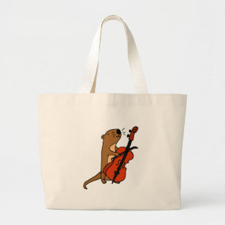 Funny Sea Otter Playing Cello Cartoon Large Tote Bag