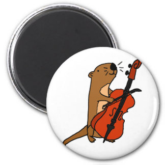 Funny Sea Otter Playing Cello Cartoon Magnet