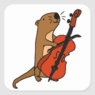 Funny Sea Otter Playing Cello Cartoon Square Sticker