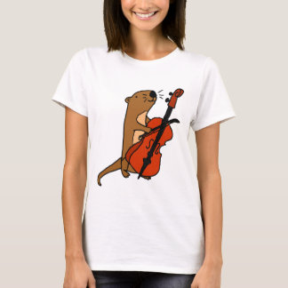 Funny Sea Otter Playing Cello Cartoon T-Shirt