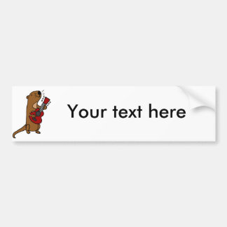 Funny Sea Otter Playing Guitar Bumper Sticker