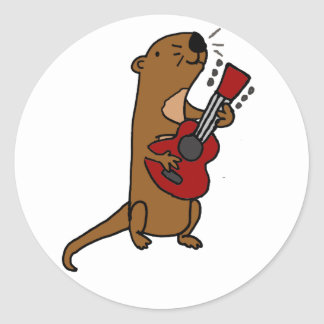 Funny Sea Otter Playing Guitar Classic Round Sticker