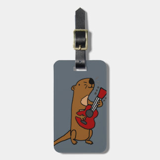 Funny Sea Otter Playing Guitar Luggage Tag