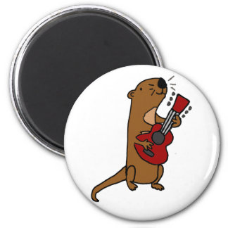 Funny Sea Otter Playing Guitar Magnet