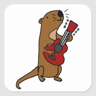 Funny Sea Otter Playing Guitar Square Sticker