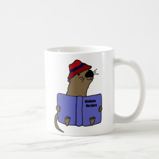 Funny Sea otter Reading Abalone Recipe Book Classic White Coffee Mug