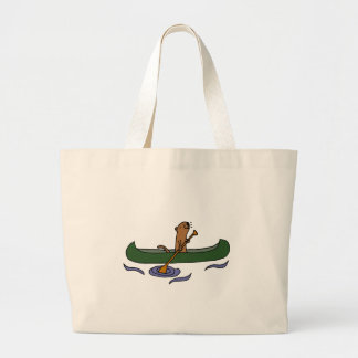Funny Sea Otter Rowing in Canoe Large Tote Bag