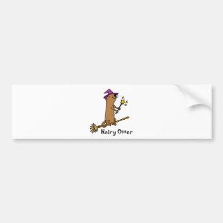 Funny Sea Otter Wizard Cartoon Bumper Sticker