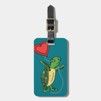 Funny Sea Turtle Holding Heart Love Balloon Luggage Tag