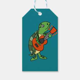 Funny Sea Turtle Playing Guitar cartoon Gift Tags