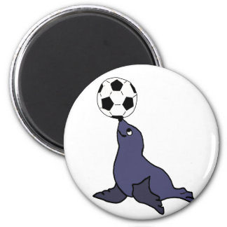 Funny Seal Animal Juggling Soccer Ball 2 Inch Round Magnet