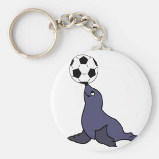 Funny Seal Animal Juggling Soccer Ball Basic Round Button Keychain