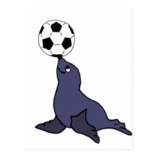 Funny Seal Animal Juggling Soccer Ball Postcard