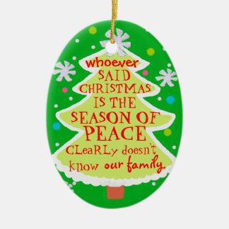 funny season of peace christmas tree ornament