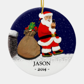 Funny Selfie Round Ceramic Ornament