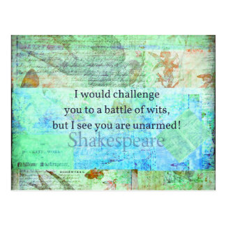 Funny Shakespeare insult quotation Elizabethan art Postcard