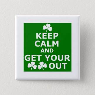 Funny shamrock 2 inch square button