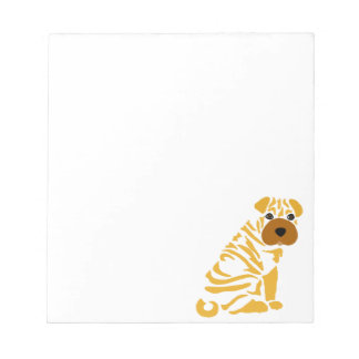 Funny Shar Pei Puppy Dog Abstract Art Notepads