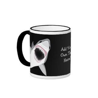 Funny Shark Bite / Shark Attack Custom Text Ringer Mug