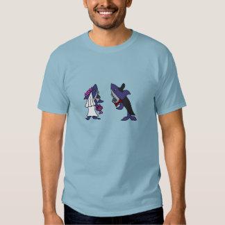 Funny Shark Bride and Groom Wedding Cartoon T Shirts