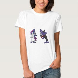 Funny Shark Bride and Groom Wedding Cartoon Tshirts