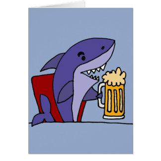 Funny Shark Drinking Beer Card