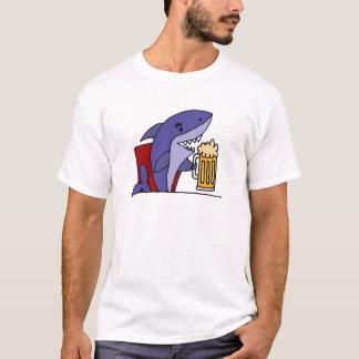 Funny Shark Drinking Beer T-Shirt