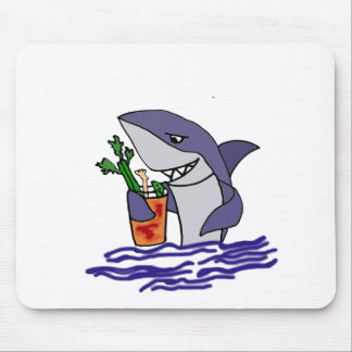Funny Shark Drinking Bloody Mary Mouse Pad