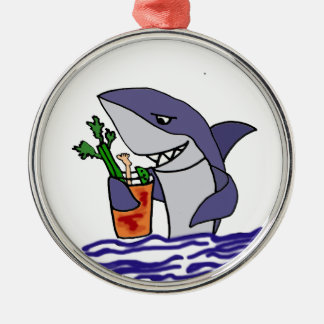 Funny Shark Drinking Bloody Mary Silver-Colored Round Ornament