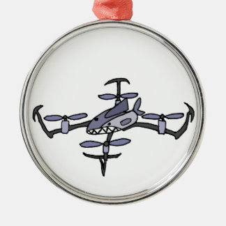 Funny Shark Drone Art Silver-Colored Round Ornament