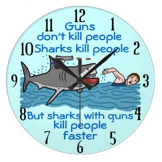 Funny Shark Gun Control Clock