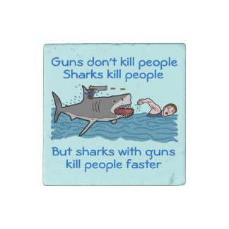 Funny Shark Gun Control Stone Magnets